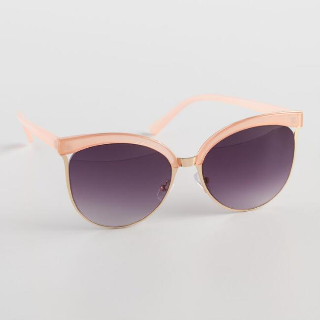 Round Blush And Gold Half Frame Justine Sunglasses