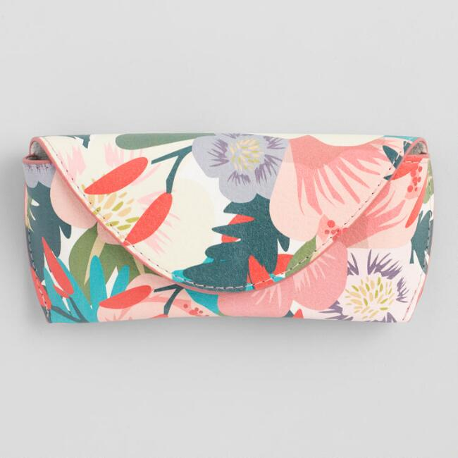 Multicolored Tropical Floral Faux Leather Eyeglass Case
