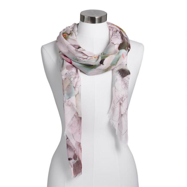 Pastel Floral Watercolor Illustrated Scarf