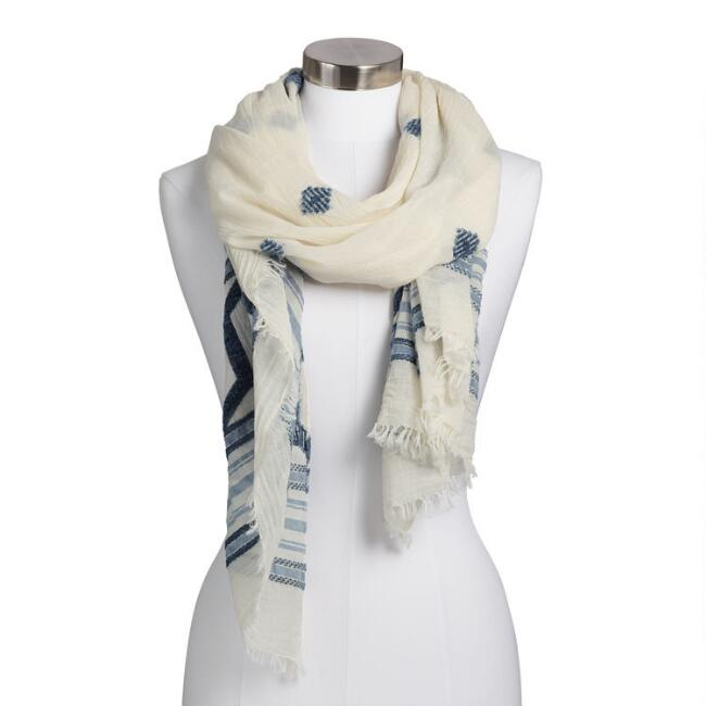 Ivory and Blue Geometric Chenille Scarf