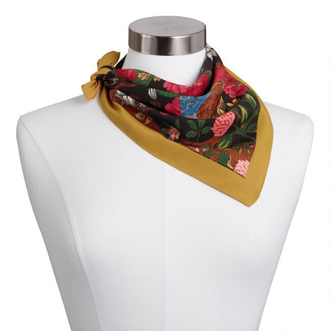 Multicolored Botanical Kerchief Scarf