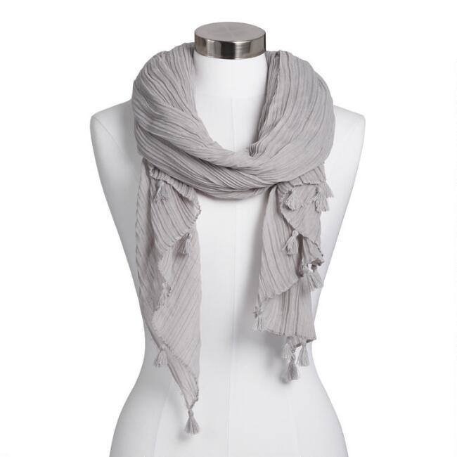Oversized Light Gray Crinkled Scarf with Tassels