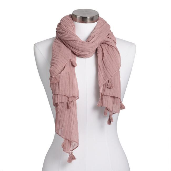 Oversized Blush Crinkled Scarf with Tassels