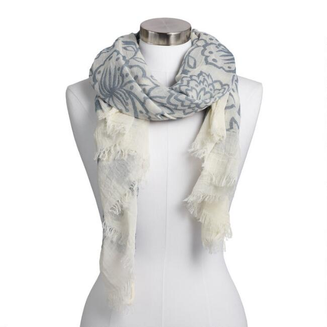 Ivory and Blue Floral Jacquard Scarf