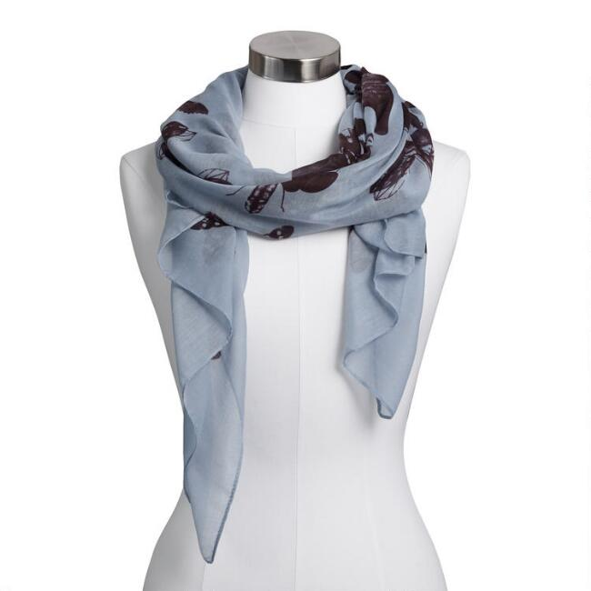 Light Blue and Black Insecta Scarf