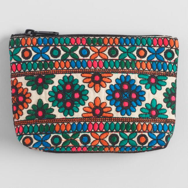 Multicolor Floral Geometric Embroidered Pouch