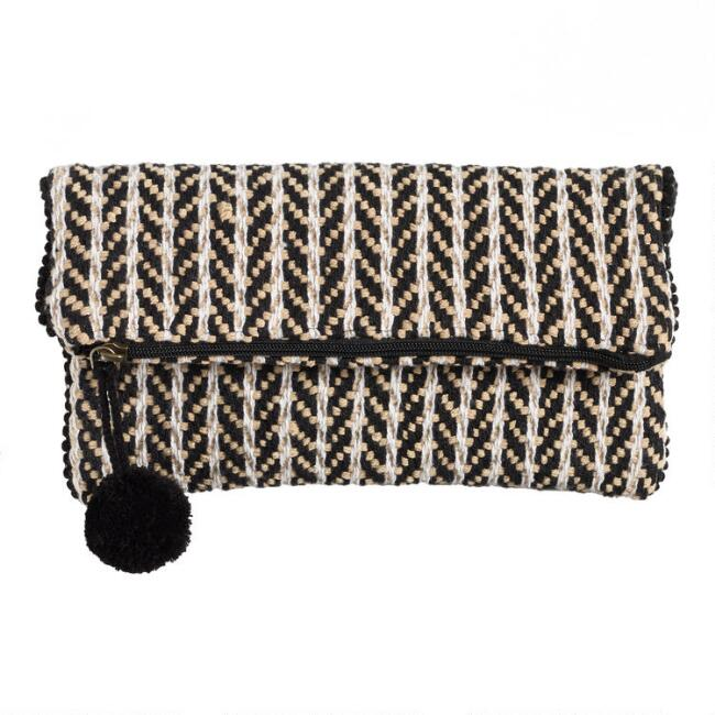 Black And White Woven Stripe Fold Over Pouch