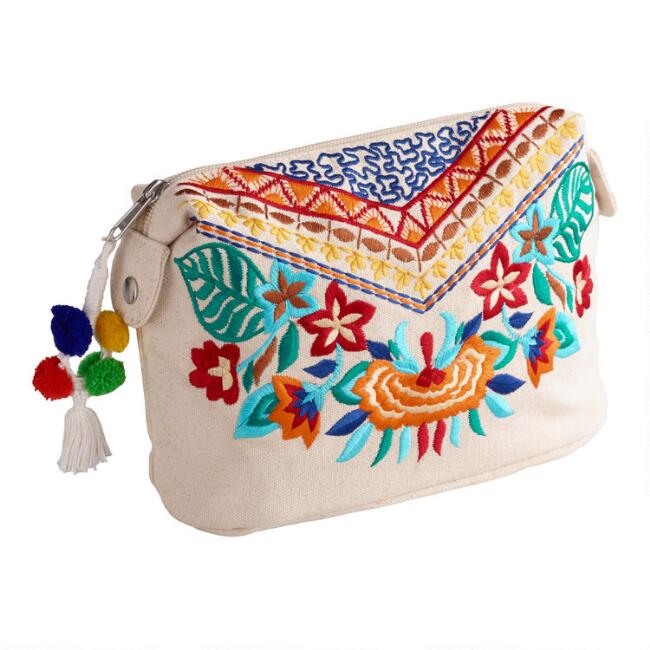 Multicolor Floral Pom Pom Embroidered Pouch