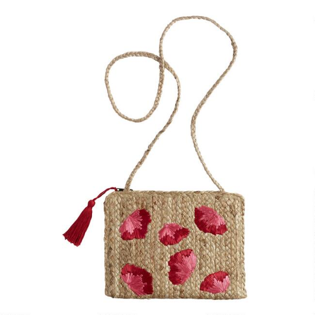 Pink And Red Floral Jute Crossbody Bag