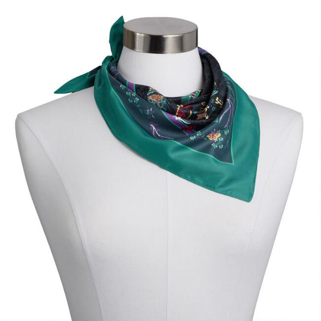 Black Multicolor Floral And Insect Kerchief Scarf