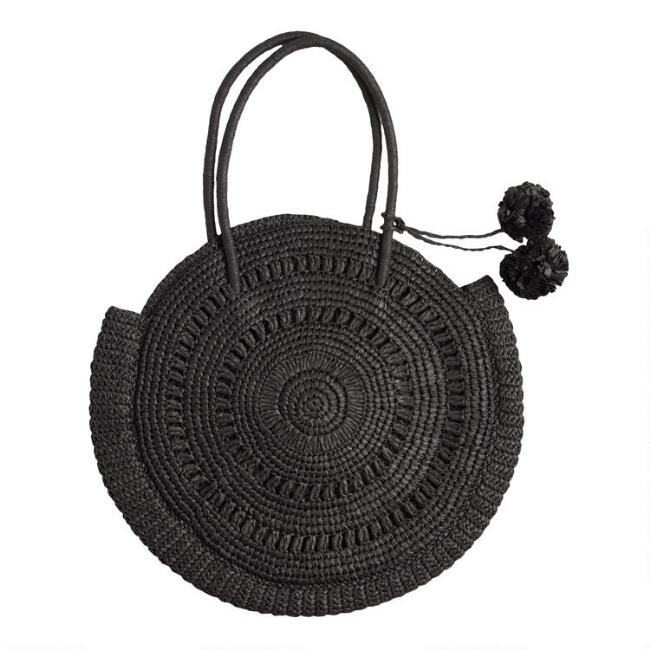 Round Black Bailey Straw Tote Bag