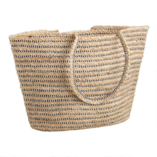 Black and White Striped Jute Tote Bag