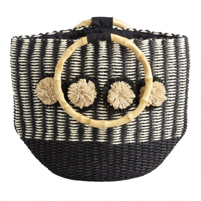 Black And White Straw Tote Bag with Bamboo Handles
