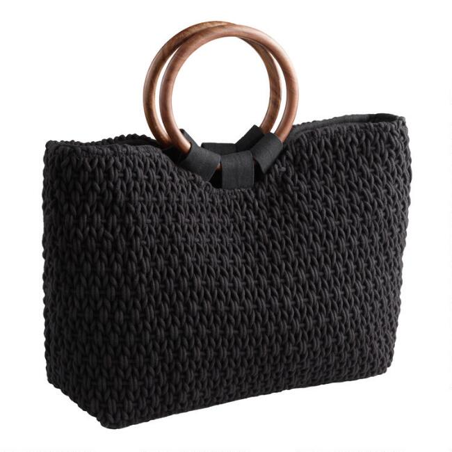 Black Open Weave and Wood Ring Tote Bag