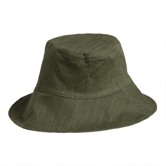 Reversible Olive And Ivory Bucket Hat
