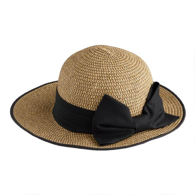 Natural Straw Cloche Hat With Black Bow