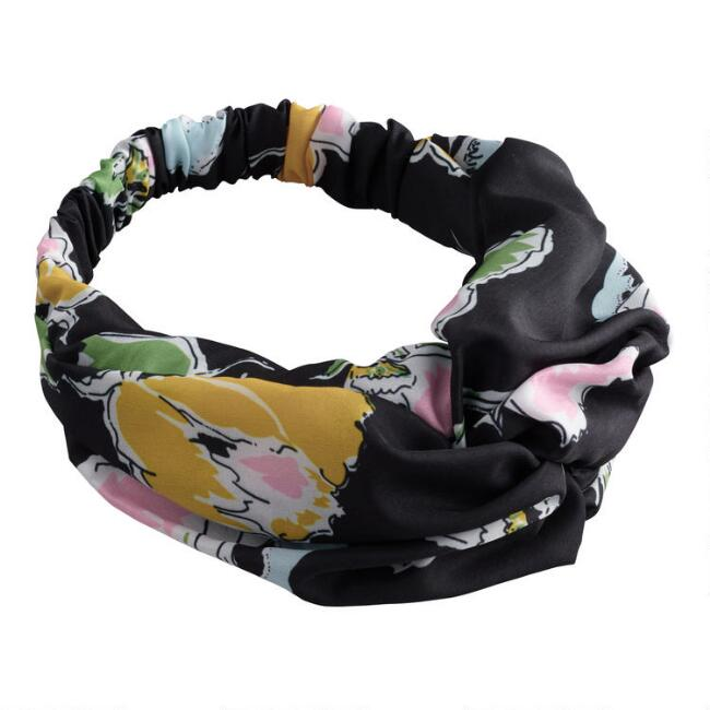 Oversized Black Abstract Floral Turban Headband