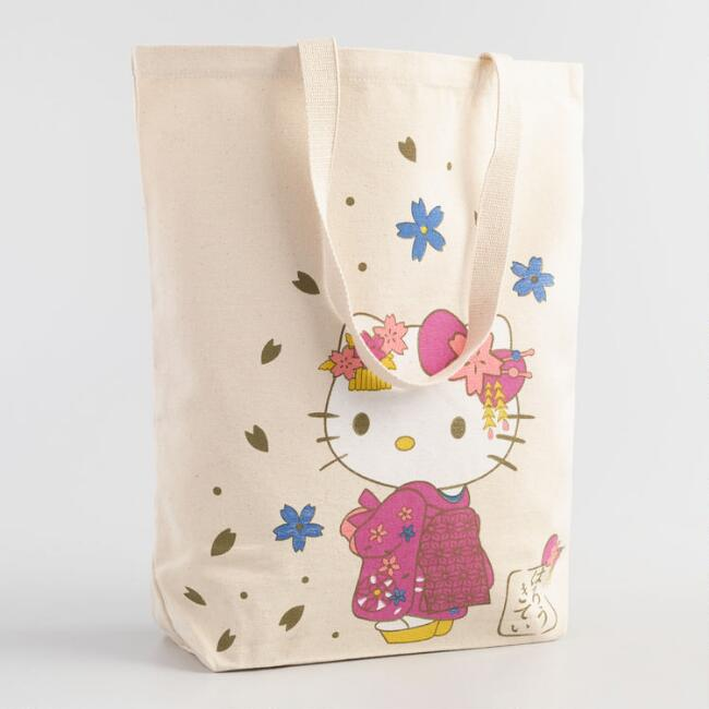 Spring Hello Kitty Canvas Tote Bag