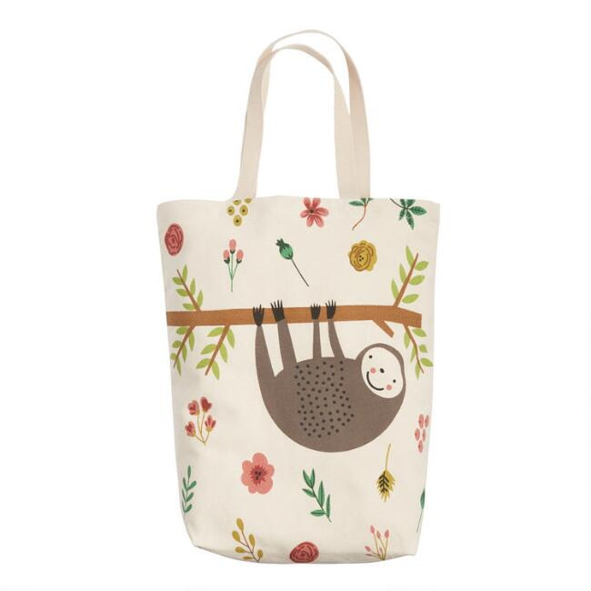Sloth Floral Canvas Tote Bag