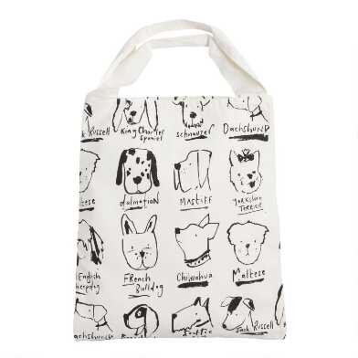 Large Black And White Illustrated Dogs Canvas Tote Bag