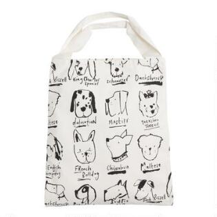 Large Black And White Illustrated Dogs Canvas Tote Bag 5a5dbf308ab45