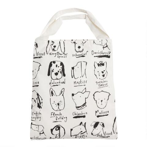 White Ilrated Dogs Canvas Tote Bag