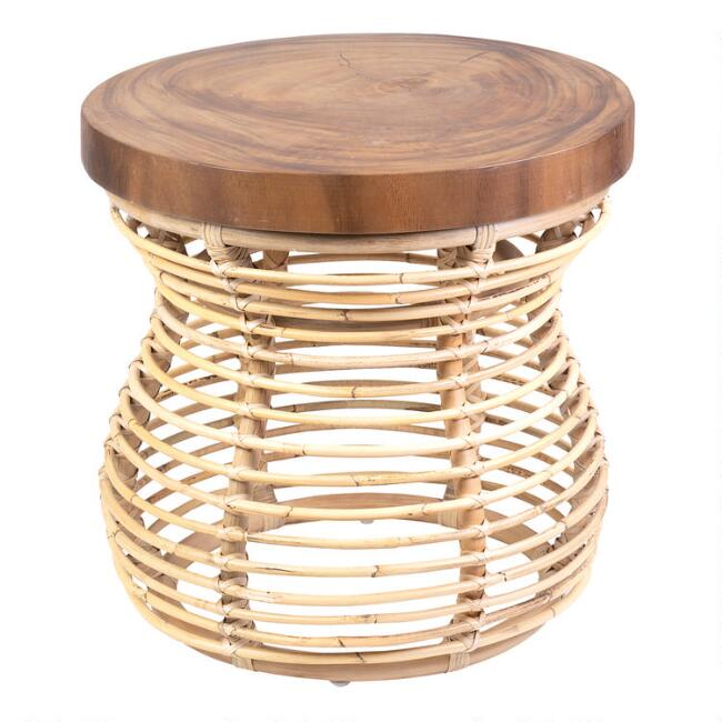 Round Teak and Rattan Olivia Accent Table