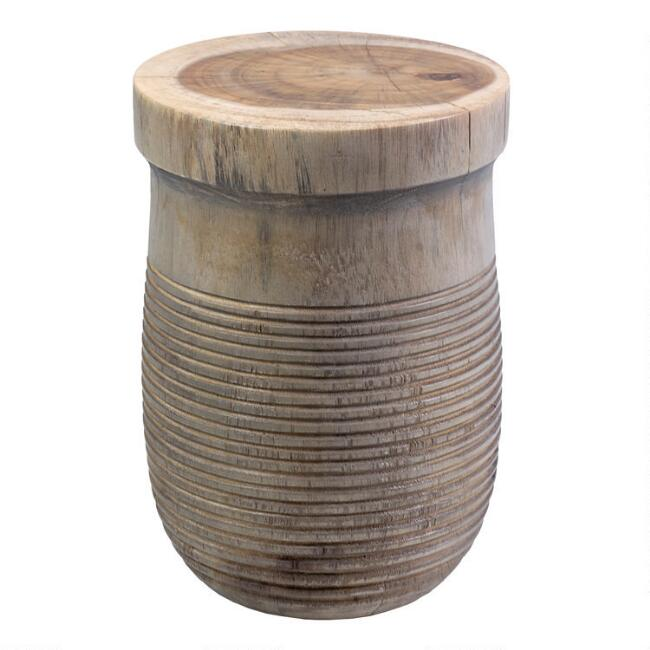 Teakwood Drum Shaw Accent Table