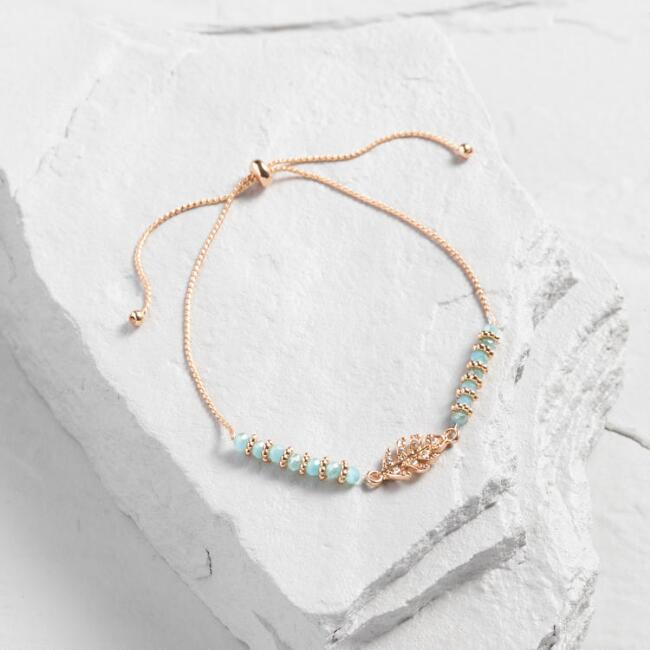 Gold And Aqua Rhinestone Leaf Beaded Bracelet