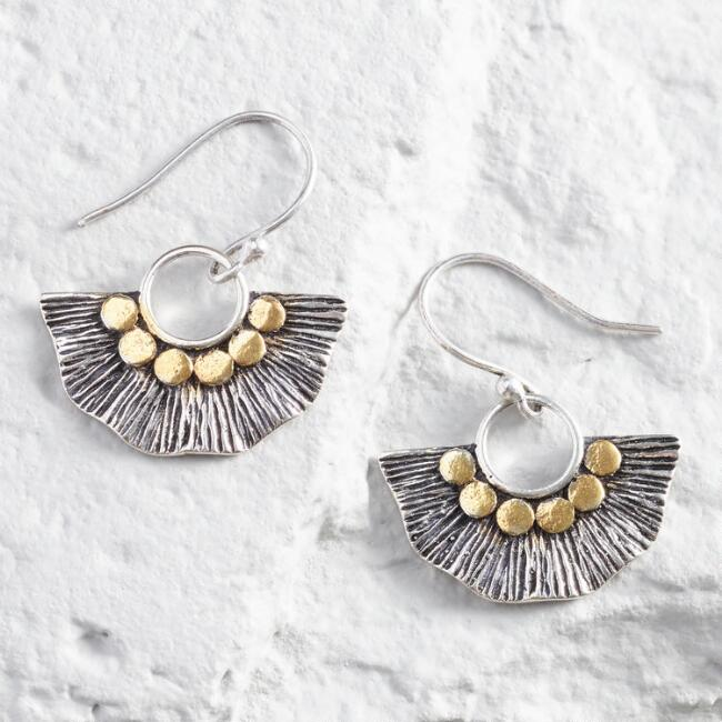 Silver And Gold Etched Fan Earrings