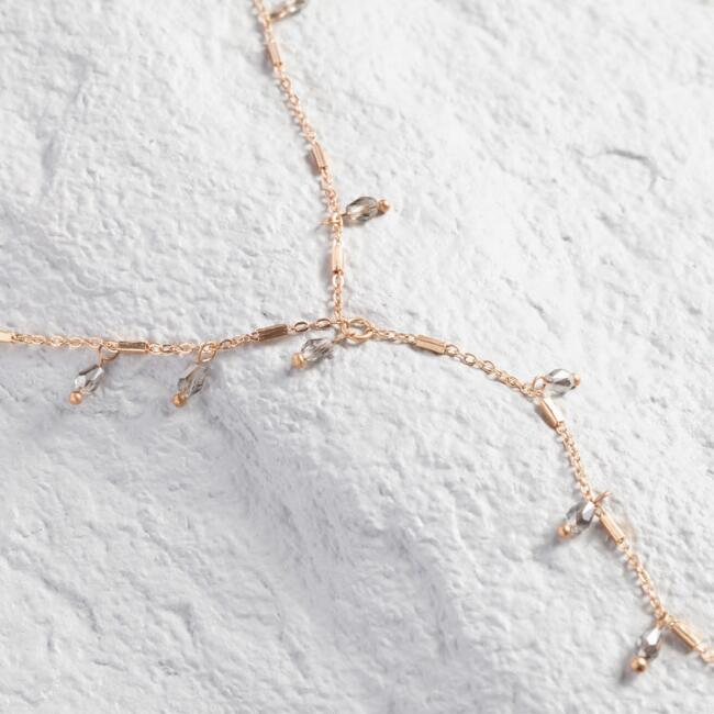 Gold Bead And Bar Lariat Necklace