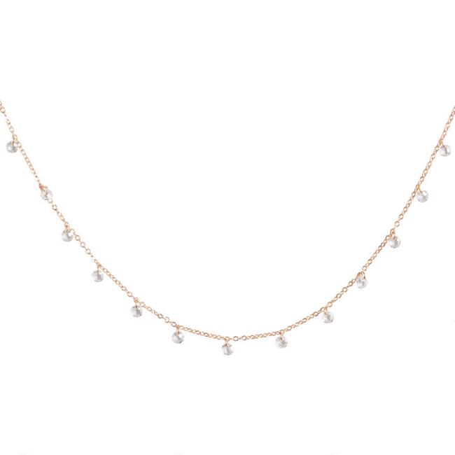 Gold Delicate Bead Short Necklace