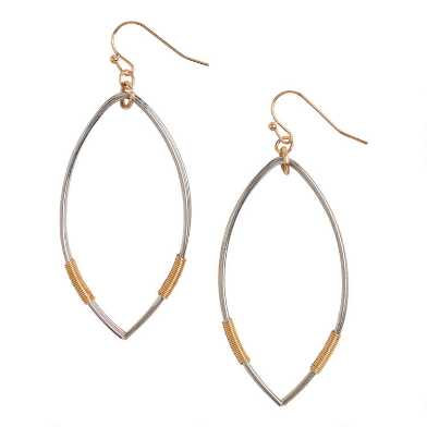 Silver And Gold Wire Teardrop Hoop Earring