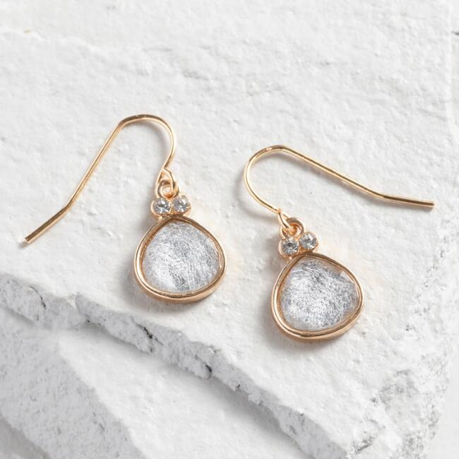 Gold And Gray Crackled Glass Drop Earrings