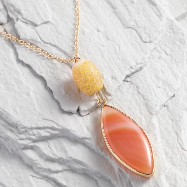 Gold And Peach Agate Pendant Necklace