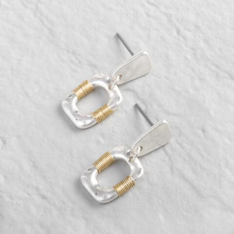 723551696a0bac Small Silver And Gold Organic Wrap Drop Earrings | World Market