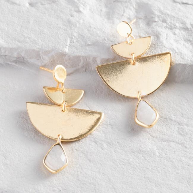 Gold Half Moon Geometric Moonstone Dangle Earrings
