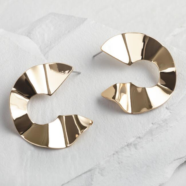 Gold Wave Open Hoop Stud Earrings