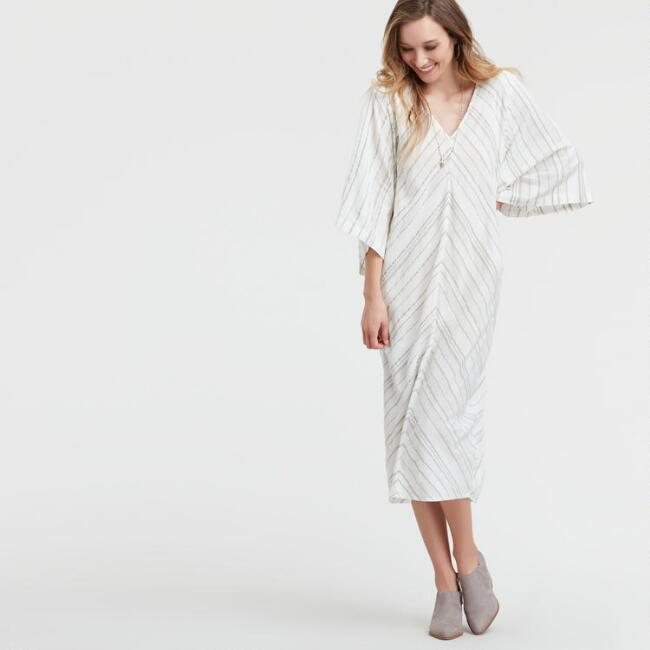 Ivory Striped Cadiz Kaftan