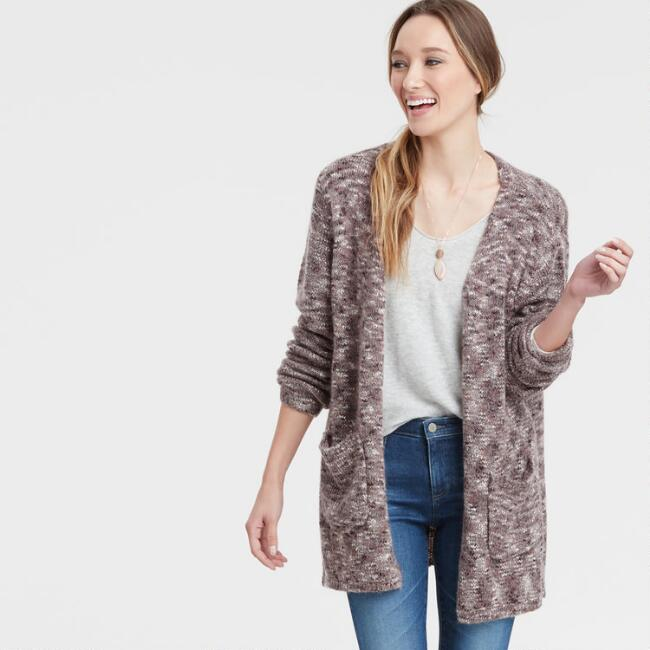 Taupe and Burgundy Marled Open Front Thalia Sweater