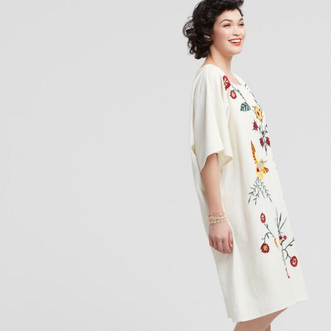 Ivory Embroidered Eden Kaftan Dress by World Market