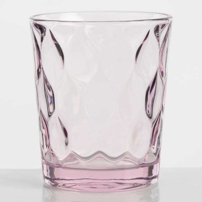 Pink Pressed Double Old Fashioned Glasses Set of 6