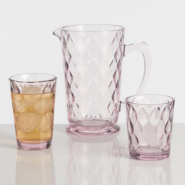 Pink Pressed Glass Barware Collection
