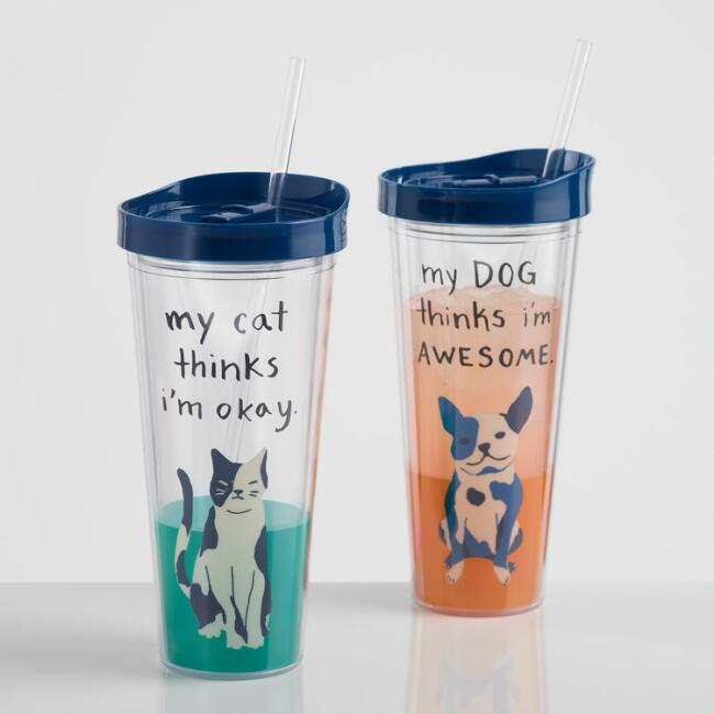 Dog and Cat Double Wall Cup with Straw Set of 2
