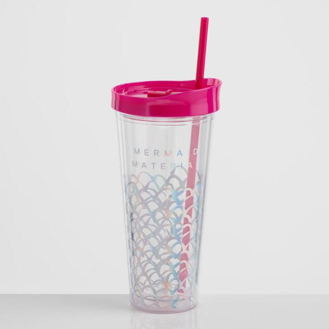 Mermaid Material Double Wall Cup with Straw