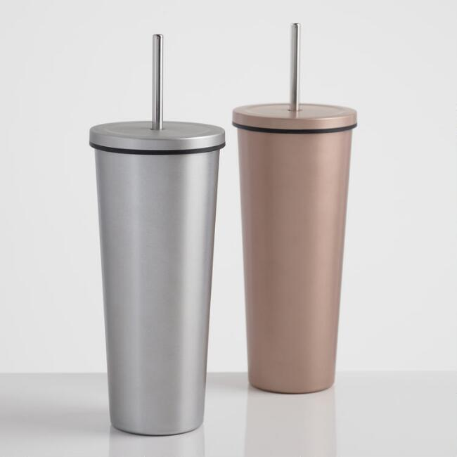 Matte Metallic Double Wall Cup with Straw Set of 2