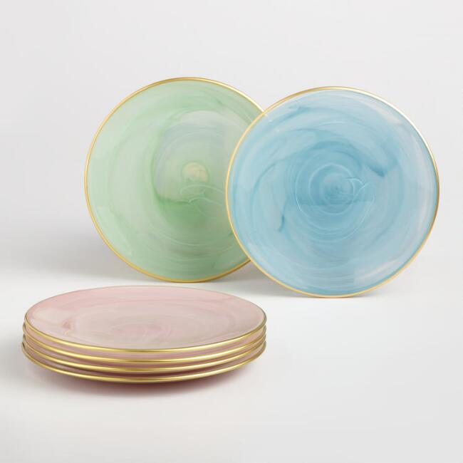 Gold Rimmed Glass Dessert Plates 4 Pack