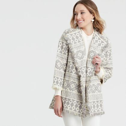 Gray and White Jacquard Open Front Jacket 8bdf353a5