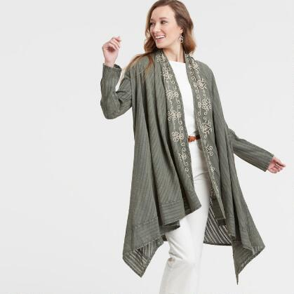 e65b8921e5 Agave Green Embroidered Open Front Duster Jacket