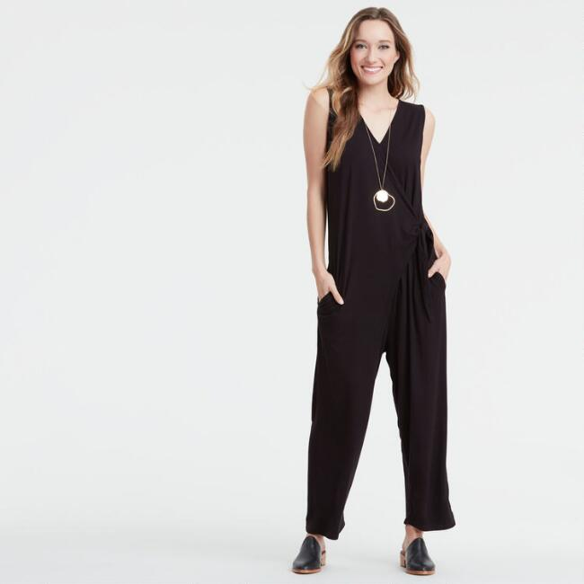Black Knit Hadly Jumpsuit with Pockets